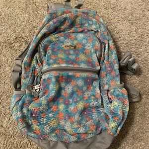 Mesh backpack with floral print